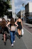 SHOPPER WALKED TOWARD MALL OF BERLIN. BERLIN/GERMANY 09 jULY 2018_ Shoppers and tourists walk toward Mall of Berlin Germany. Photo.Francis Joseph Dean / Royalty Free Stock Photo