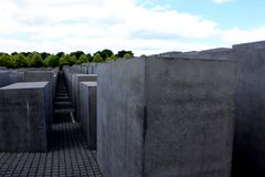 Berlin Germany July 23st 2016 - The Memorial to the Murdered Jews of Europe in Berlin.  Stock Image
