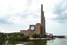 Wolfsburg Volkswagen Plant outdoors. Berlin, Germany - July 28, 2018: Wolfsburg Volkswagen Plant. Volkswagen`s largest manufacturing plant in the world, the royalty free stock photos