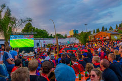 BERLIN, GERMANY - JUNE 06, 2015: Barcelona team fans supporting their team outside of the stadium in Berlin. Final match Stock Photo