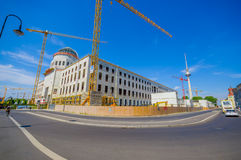 BERLIN, GERMANY - JUNE 06, 2015: Berlin city palace reconstruction, historic buiding damage on 1945 Stock Photography