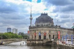 Berlin, Germany - June 21, 2015: Bode Museum, Spree River and the Fernsehturm royalty free stock images