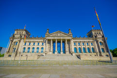 BERLIN, GERMANY - JUNE 06, 2015: Dem Deutschen Volke, is the inscription outside of the Reichstag buiding Royalty Free Stock Image