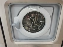 Electrolux washing machine. Berlin, Germany - June 25, 2018: Electrolux washing machine. Electrolux AB is a Swedish multinational home appliance manufacturer royalty free stock photo