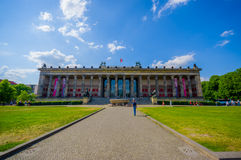 BERLIN, GERMANY - JUNE 06, 2015: Facade of Altes Museum in Berlin, sunny day and green grass, part of Island Museum stock image