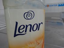 Lenor Fabric Conditioner. Berlin, Germany - June 25, 2018: Lenor Fabric Conditioner. Downy Lenor in Europe, Russia and Japan is a brand name of fabric softener stock image