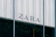 The logo / brand name of ZARA on store facade in Berlin, Germa royalty free stock images