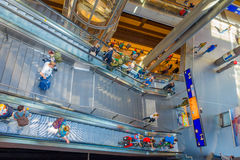 BERLIN, GERMANY - JUNE 06, 2015: Long electrical stairs in train station Royalty Free Stock Photography