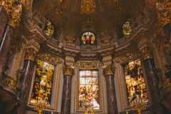 Low angle view of beautiful ancient Berliner Dom interior in Berlin, Germany. BERLIN, GERMANY - JUNE 20, 2017: low angle view of beautiful ancient Berliner Dom Royalty Free Stock Images