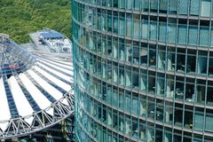 Modern Architecture at Potsdamer Platz - roof of the Sony Center. Berlin, Germany - june 9, 2017: Modern Architecture at Potsdamer Platz - roof of the Sony Royalty Free Stock Photography