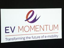 EV Momentum event in Berlin sign. Berlin, Germany - June 19, 2018: Sign of EV Momentum, event from the organisers of CWIEME, the world's leading events stock photography