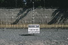 Sign at the German Concentration camp Sachsenhausen in Berlin, G. BERLIN, GERMANY June 6, 2017: Sign at the nazi German Concentration camp Sachsenhausen. The Royalty Free Stock Photos