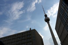 Berlin, Germany, 13 June 2018. The television tower at Alexanderplatz with the backdrop of a blue sky royalty free stock image