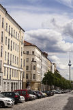 Strelitzer Strasse and Belin Television Tower Fernsehturm German Stock Photo