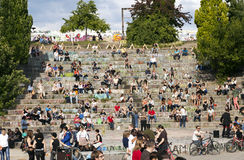Mauerpark Amphitheater on Sunday, Berlin Germany. Berlin, Germany - June 10th, 2012: Early summer Sunday afternoon at the Mauerpark amphitheater. Manu people are Royalty Free Stock Image