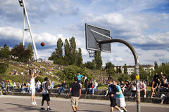 Basketball Game at Mauerpark Berlin Royalty Free Stock Photos