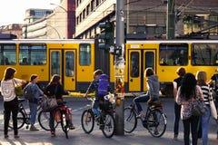Pedestrians Waiting for Green Light at Alexanderplatz Stock Image
