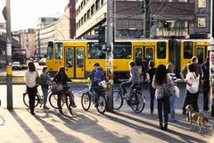 Pedestrians Waiting for Green Light at Alexanderplatz Stock Images