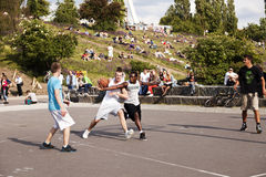 Street Basketball Intense Battle Stock Image