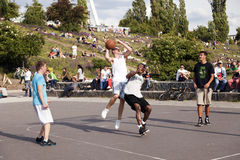 Street Basketball Intense Battle Royalty Free Stock Image