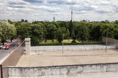 East-West Berlin Original Border Section. Berlin, Germany - June 10th, 2012: A section of the original east-west Berlin border and walls, viewed from the tower Royalty Free Stock Photography