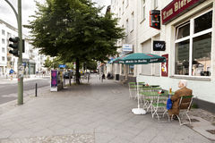Senior Man Drinking Beer at Brunnen Strasse Berlin Germany Royalty Free Stock Photography