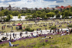 Sunday at Mauer Park Berlin Germany. Berlin, Germany - June 10th, 2012: Spring Sunday afternoon at Mauer Park in east Berlin. The pat andlawn are full with Royalty Free Stock Image