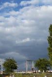 Mauerpark Stadium Lighting Tower and Hill Berlin Germany Stock Image