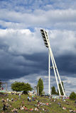 Mauerpark Stadium Lighting Tower and Hill Berlin Germany Stock Photography