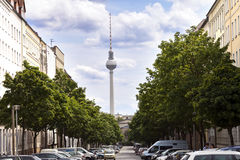 Strelitzer Strasse and Belin Television Tower Fernsehturm German Royalty Free Stock Photo
