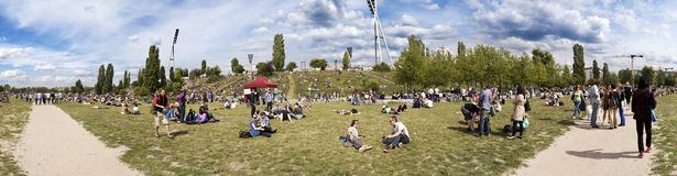Mauerpark Flee Market Sunday Panorama Royalty Free Stock Photos