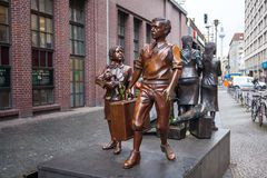 19.01.2018 Berlin, Germany - Kindertransport memorial statue com. Memorates a series of rescue efforts which brought thousands of refugee Jewish children to the stock photography