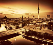 Berlin, Germany major landmarks at sunset in gold tone Royalty Free Stock Image