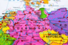 Berlin Germany map. Berlin in Germany pinned on colorful political map of Europe. Geopolitical school atlas. Tilt shift effect stock image