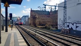 Berlin s bahn train pulling into the platform at one of Berlins many stations royalty free stock images