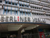 Berliner Verlag sign. Berlin, Germany - March 21, 2018: Berliner Verlag, publishing house providing newspapers and magazines. Since 2017 it changes into DuMont royalty free stock photography