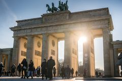 Brandenburg Gate in Berlin, Germany. Berlin, Germany - March 19, 2018: Brandenburg Gate German: Brandenburger Tor, an 18th-century neoclassical monument in stock photography