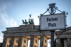 Famous Brandenburg Tor in Pariser Platz, Berlin, Germany stock photos