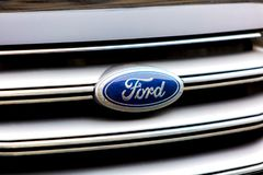 Ford car emblem. Berlin, Germany - March 23, 2018: Ford emblem. Ford Motor Company is an American multinational automaker headquartered in Dearborn, Detroit. It Royalty Free Stock Images