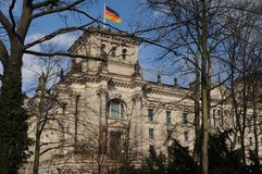 GERMAN PARLIAMENT BUILDING REICHTAG AND BUNDESTAG. Berlin /Germany . 05 March 2019. German and europeain nion flags fly over German bundestag or reichtag and stock images