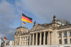 GERMAN PARLIAMENT BUILDING REICHTAG AND BUNDESTAG. Berlin /Germany . 05 March 2019. German and europeain nion flags fly over German bundestag or reichtag and stock photos