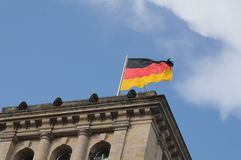 GERMAN PARLIAMENT BUILDING REICHTAG AND BUNDESTAG. Berlin /Germany . 05 March 2019. German and europeain nion flags fly over German bundestag or reichtag and stock image