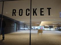 Sign of the Rocket Internet company. Berlin, Germany - March 20, 2018: Rocket Internet sign. Rocket Internet SE is a European Internet company that builds online Royalty Free Stock Photo