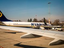 Ryanair plane on stand at Berlin royalty free stock photo