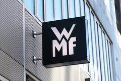 WMF store signage. Berlin, Germany - March 19, 2018: Signage of WMF shop. Wuerttembergische Metallwarenfabrik is a German silverware manufacturer, headquartered Stock Images