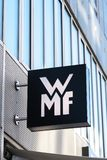 WMF store signage. Berlin, Germany - March 19, 2018: Signage of WMF shop. Wuerttembergische Metallwarenfabrik is a German silverware manufacturer, headquartered Royalty Free Stock Photography