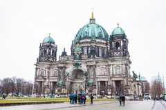 Supreme Parish and Collegiate Church or also called Berlin Cathedral on a snowy end of winter day stock photo