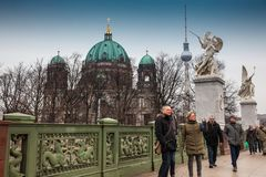 Supreme Parish and Collegiate Church or also called Berlin Cathedral seen from the Schloss Bridge in a cold end of winter day stock image