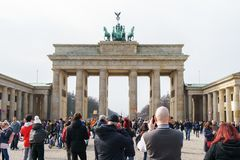 Brandenburg Gate with tourist crowd in Berlin Germany Royalty Free Stock Images