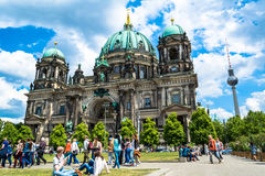 Berlin, Germany - May 25, 2015: Berlin Cathedral - the largest Protestant church in Germany. Located on Museum Island in Berlin. Sunny day with blue sky and stock photos